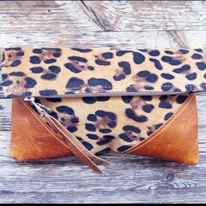 Handmade Vintage Leopard Leather Fold Clutch